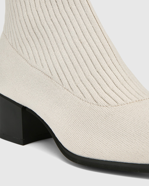 Orbit Vintage Ivory Recycled Knit Ankle Boot  & Wittner & Wittner Shoes