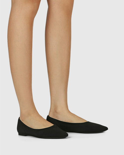 Pippa Black Recycled Flyknit Ballet Flat