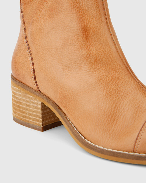 Jacey Tan Leather Block Heel Ankle Boot. & Wittner & Wittner Shoes