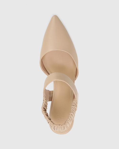 Hanira Ecru Leather Elastic Slingback Stiletto. & Wittner & Wittner Shoes