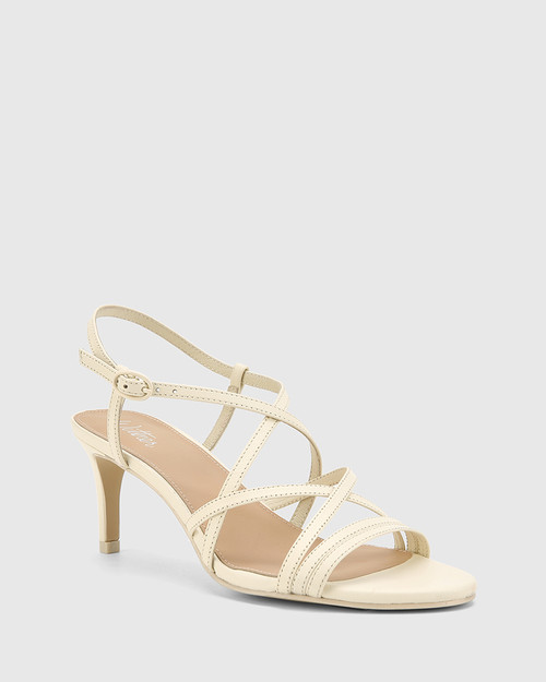 Nhalo Buttercream Leather Stiletto Heel Sandal.