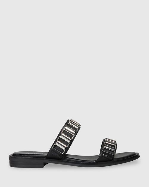 Citra Black Leather Silver Hardware Flat Slide. & Wittner & Wittner Shoes
