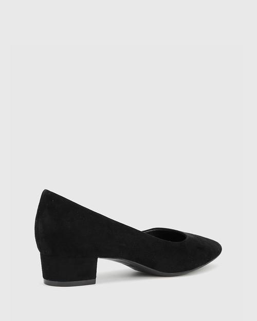 Armin Black Suede Pointed Toe Low Block Heel. & Wittner & Wittner Shoes