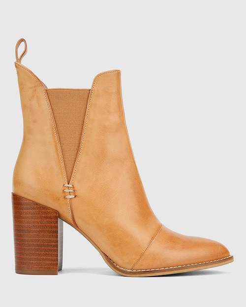 Honesty Tan Leather Elasticated Gusset Block Heel Ankle Boot. & Wittner & Wittner Shoes