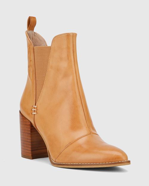 Honesty Tan Leather Elasticated Gusset Block Heel Ankle Boot.