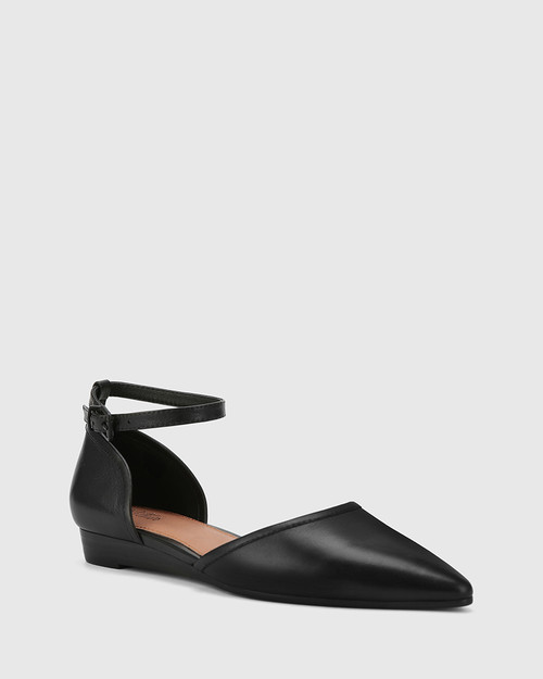 Ariel Black Leather Low Wedge Flat. & Wittner & Wittner Shoes