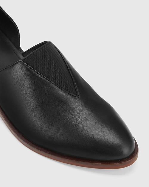 Kellen Black Leather Pointed Toe Slip On Flat.