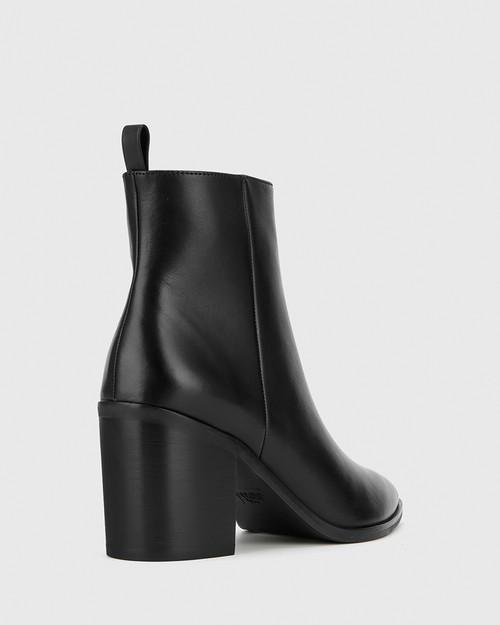 Pearce Black Leather Block Heel Ankle Boot. & Wittner & Wittner Shoes