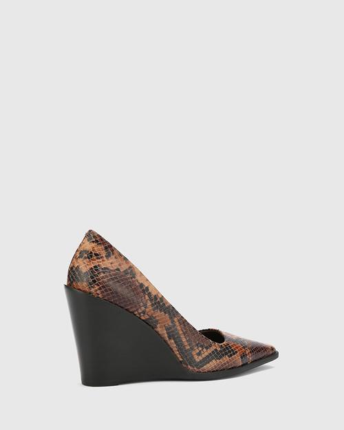 Hew Brown Anaconda Print Leather Snib Toe Wedge.