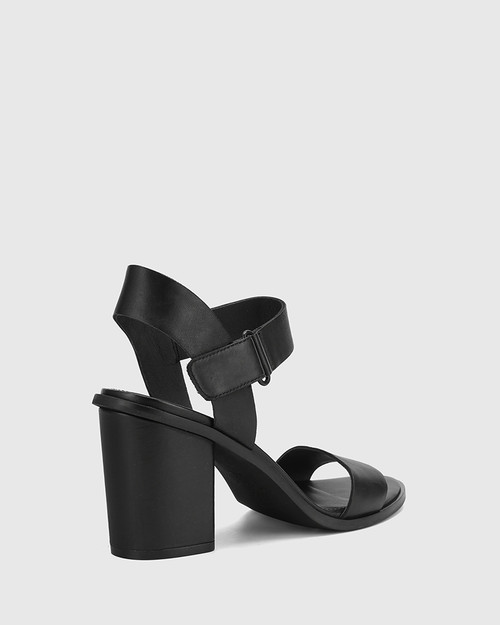 Finity Black Nappa Leather Block Heel Sandal.