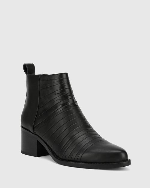 Jaylee Black Leather Almond Toe Block Heel Ankle Boot.