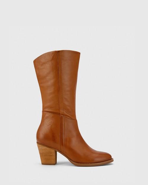 Keddy Cognac Leather Round Toe Block Heel Boot