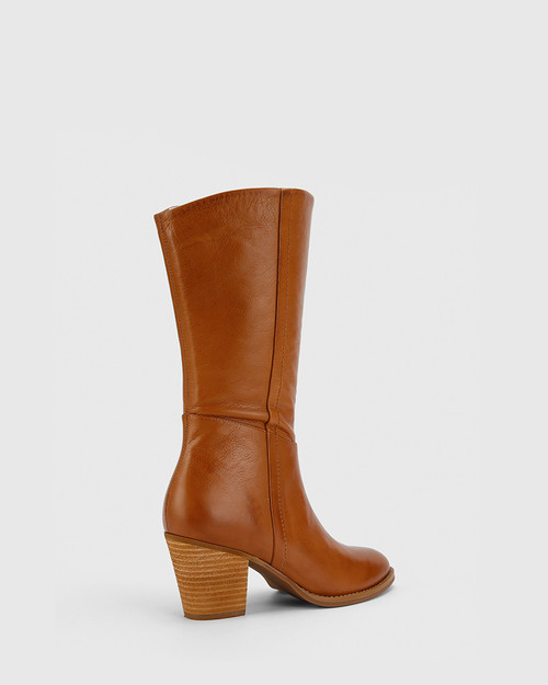 Keddy Cognac Leather Round Toe Block Heel Boot