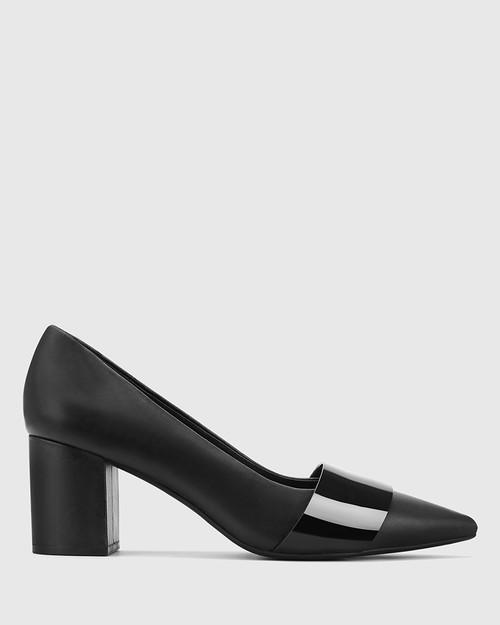 Danko Black Leather Pointed Toe Block Heel.