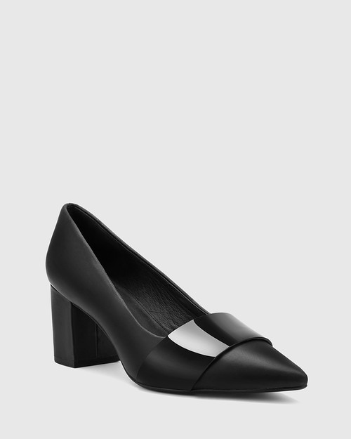 Danko Black Leather Pointed Toe Block Heel.