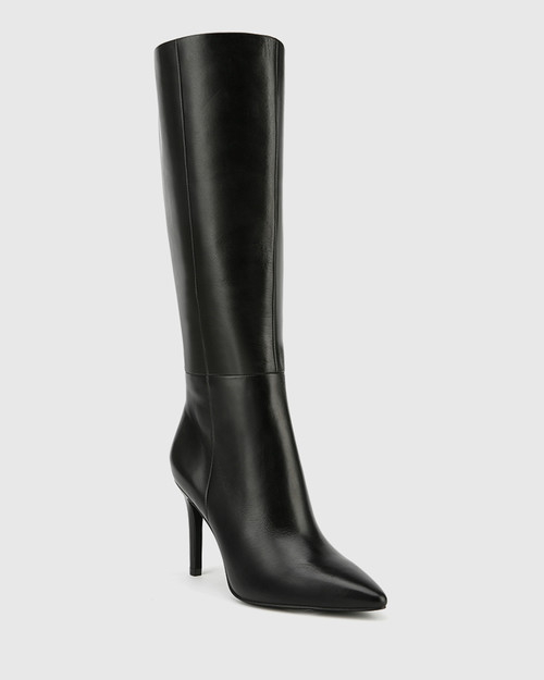 Hallow Black Leather Pointed Toe Stiletto Heel Long Boot