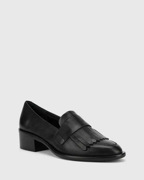 Fernley Black Leather Almond Toe Loafer.