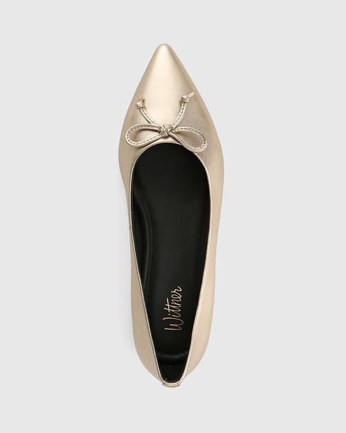 Marcek Tuscan Gold Leather Pointed Toe Flat & Wittner & Wittner Shoes