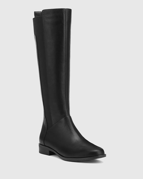 Cueva Black Leather Round Toe Long Boot