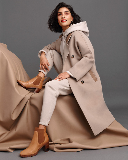Purcell Tan Leather Block Heel Ankle Boot.