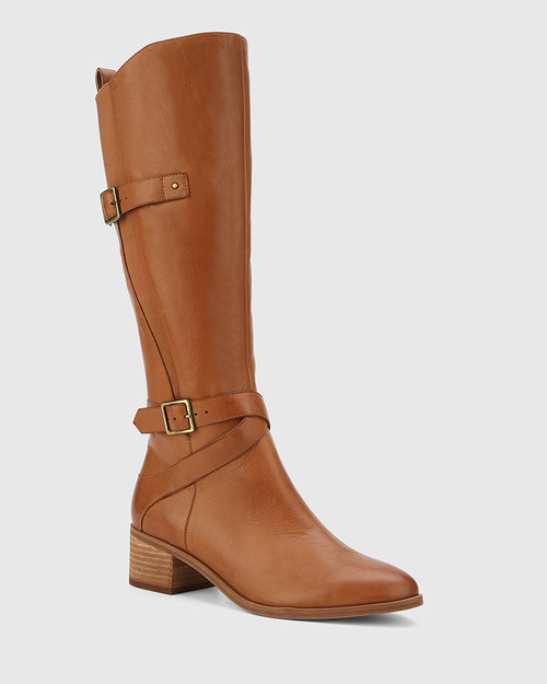 Ionna Cognac Leather With Elastic Long Boot