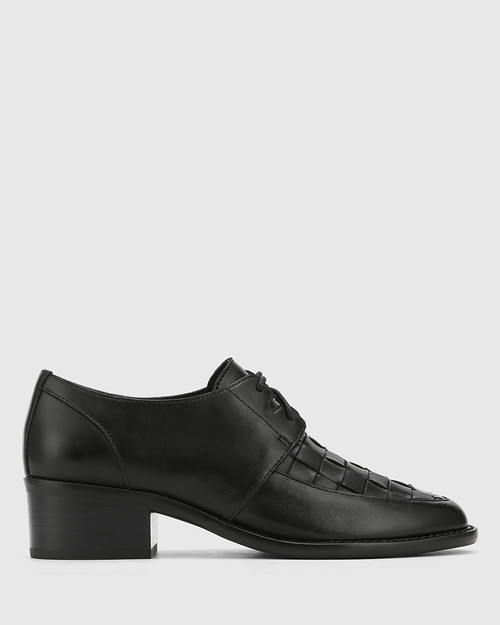 Frenton Black Leather Weave Front Block Heel Brogue. & Wittner & Wittner Shoes
