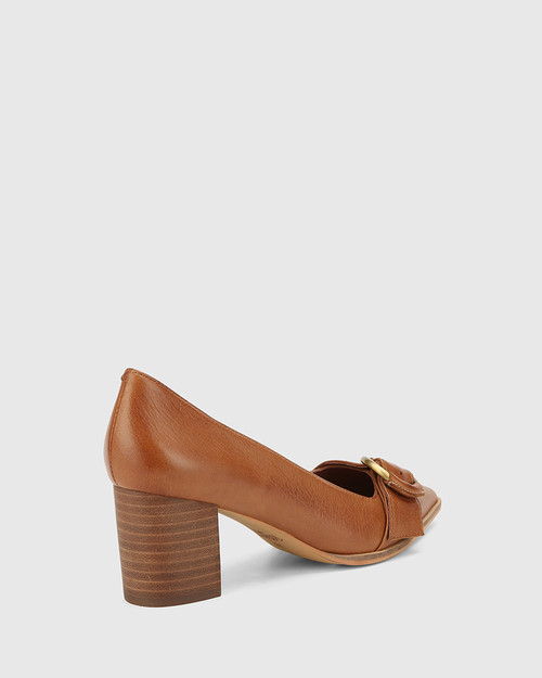 Derry Dark Cognac Leather Buckle Detail Pump. & Wittner & Wittner Shoes