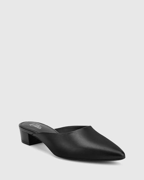 Altheda Black Leather Pointed Toe Block Heel Mule. & Wittner & Wittner Shoes