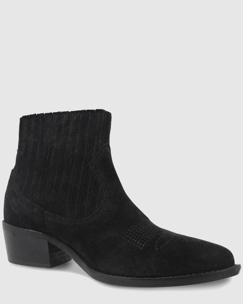 Vonny Black Suede Western Block Heel Ankle Boot.