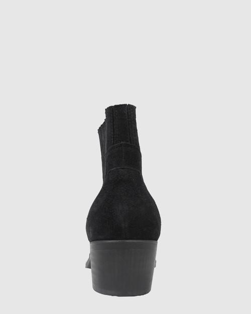 Vonny Black Suede Western Block Heel Ankle Boot. & Wittner & Wittner Shoes