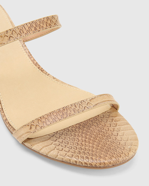 Jay Beige Python Print Leather Low Stiletto Sandal. & Wittner & Wittner Shoes