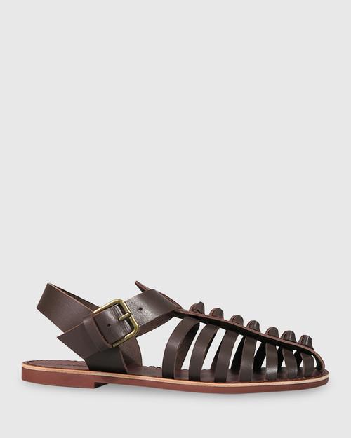 Capulet Chocolate Leather Flat Sandal. & Wittner & Wittner Shoes