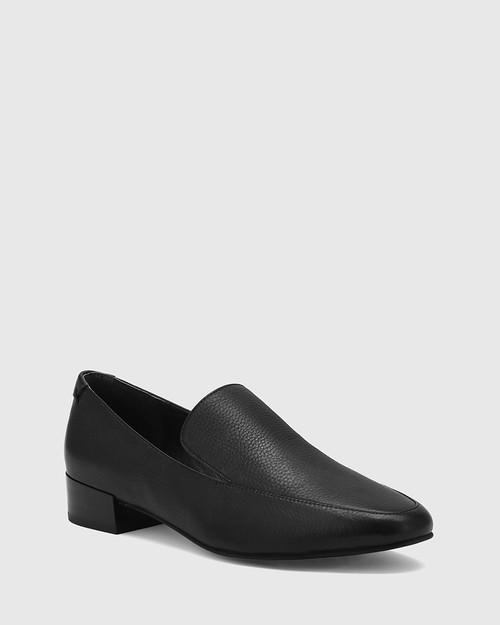 Chia Black Leather Round Toe Loafer. & Wittner & Wittner Shoes