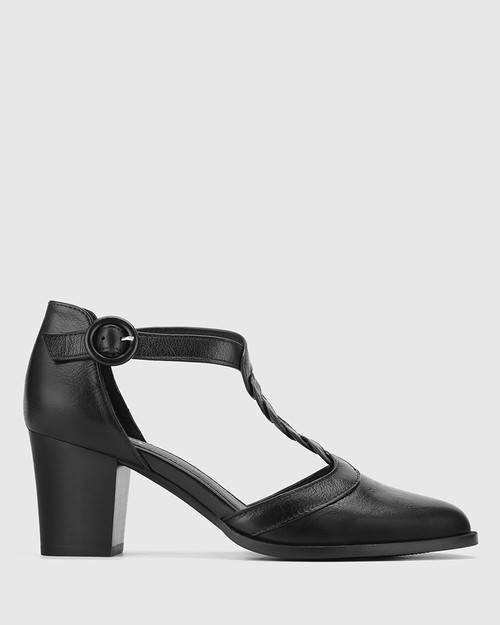 Nedda Black Leather T-Bar Block Heel.