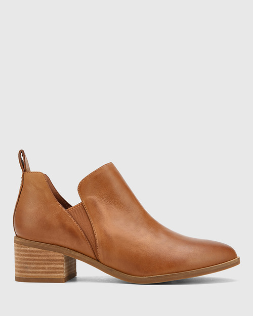 Ita Dark Cognac Leather Block Heel Gusset Ankle Boot.