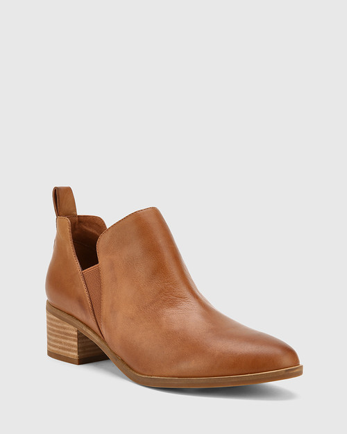 Ita Dark Cognac Leather Block Heel Gusset Ankle Boot.