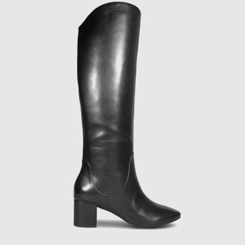 Andrei Black Leather Block Heel Knee High Boot. & Wittner & Wittner Shoes