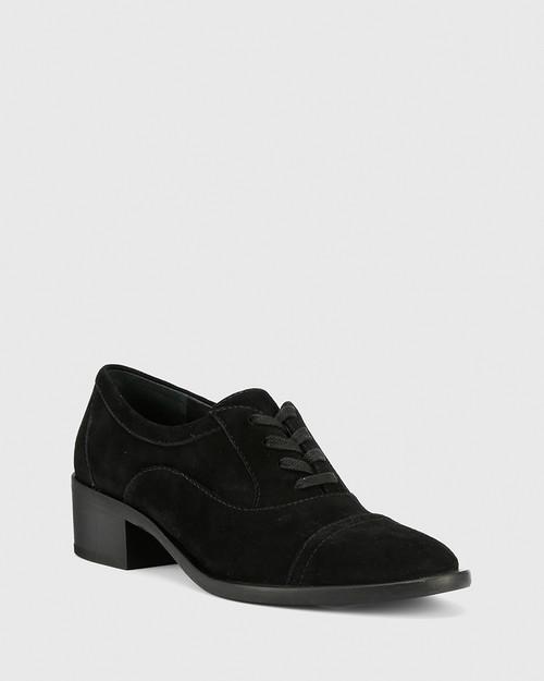Fallow Black Suede Block Heel Lace Up Brogue. & Wittner & Wittner Shoes