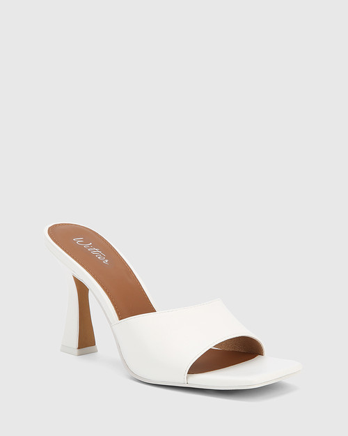 Ruthie White Leather Curve Heel Sandal