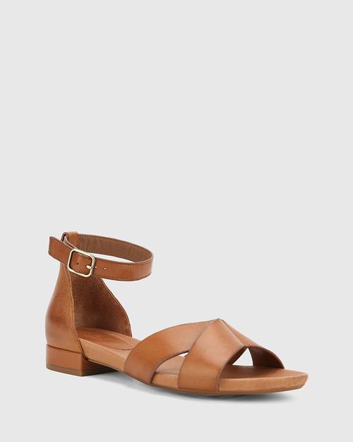 Lalita Dark Cognac Nappa Leather Open Toe Flat Sandal.