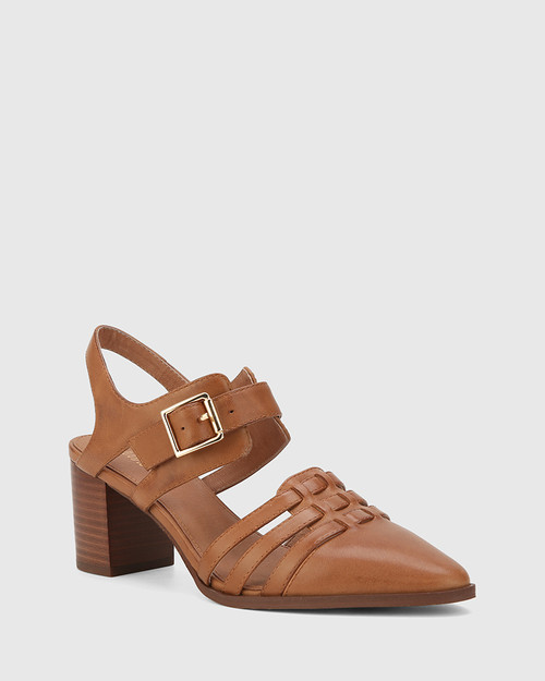 Dinah Cognac Leather Pointed Toe Block Heel Pump