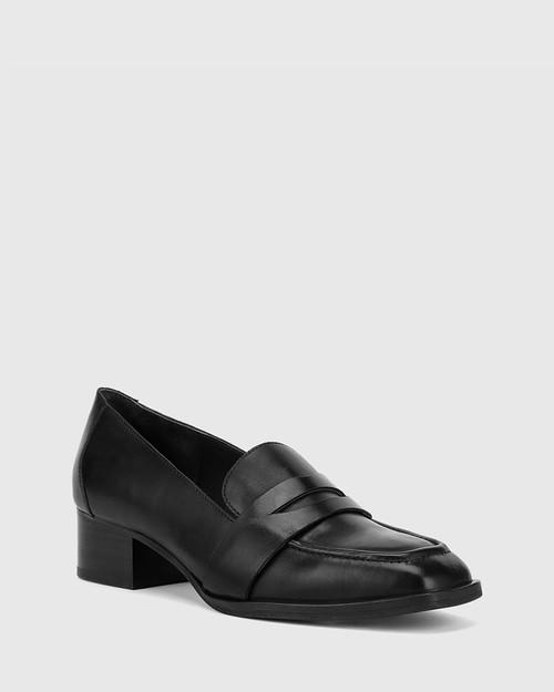 Fentis Black Leather Square Toe Loafer