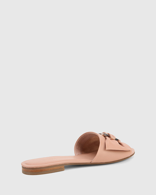 Cate Petal Pink Leather Open Toed Flat Sandal. & Wittner & Wittner Shoes