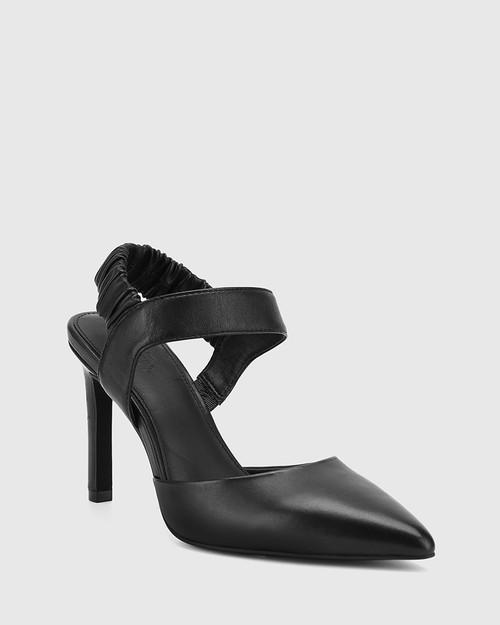 Hanira Black Leather Elastic Slingback Stiletto.