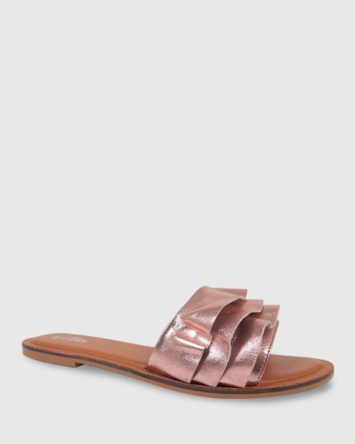 Indira Rose Gold Leather Ruffle Flat Slide. & Wittner & Wittner Shoes