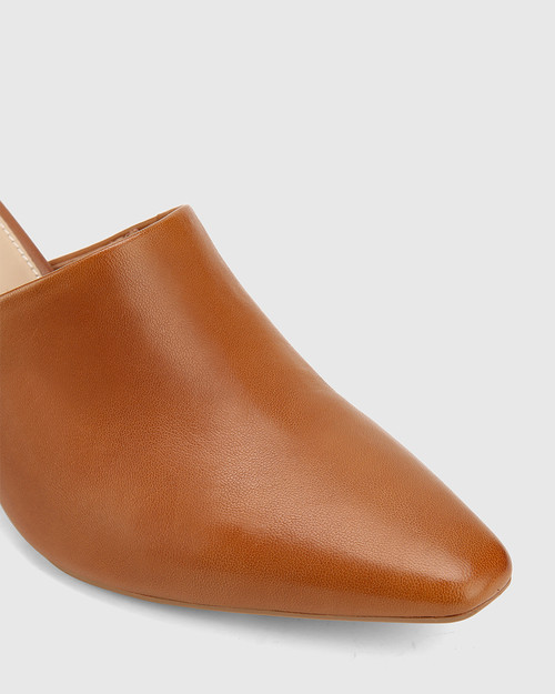 Polina Tan Leather Snib Toe Wedge Mule. & Wittner & Wittner Shoes