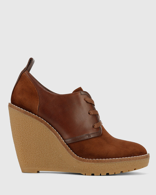 Tablyn Brown Suede and Leather Round Toe Wedge Bootie. & Wittner & Wittner Shoes