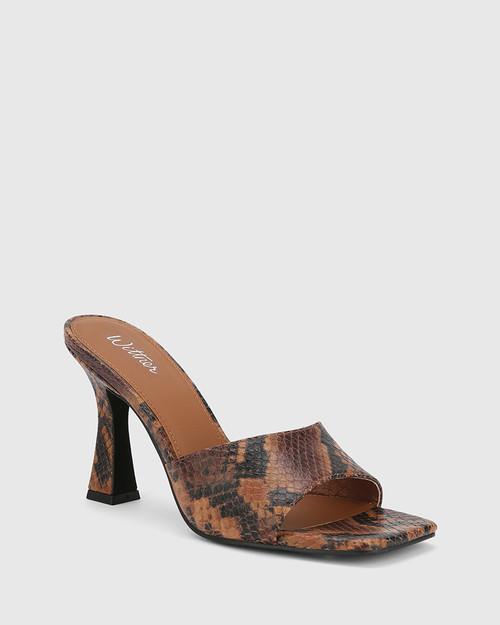 Ruthie Brown Anaconda Print Leather Curve Heel Sandal.
