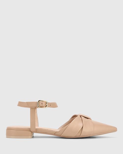 Malvina New Flesh Leather Pointed Toe Flat Sandal.