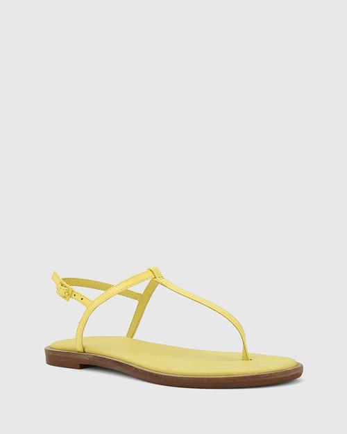 Cadderly Sunshine Yellow Leather Open Toe Flat Sandal.